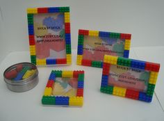 Lego style Children's decorations picture frame & magnet set - various sizes, primary colors, red, blue, yellow, green