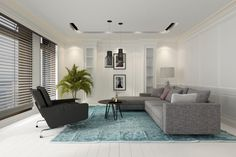 Comfortable modern white living room interior with a sofa and chairs on a blue carpet on a hardwood floor overlooked by large windows with Venetian blinds, rendering living room interior royalty free stock images stock illustration Living Room Furniture Layout, Living Room Interior, Modern White Living Room, India Colors, Blue Carpet, Interior Photo, Blinds For Windows, Large Windows, Illustration