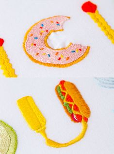 Embroidered food typography.