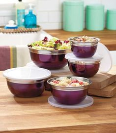 10 Piece Stainless Steel Mix u0026 Storage Bowl Set Mixing Bowls with Lids Purple & 16-Piece Grape Vineyard Dinnerware Set | Dinnerware Kitchen decor ...