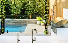 Australia's Best Pool and Landscape Landscaping Company, Modern Landscaping, Pool Landscaping, Glass Pool Fencing, Pool Fence, Outdoor Bbq Kitchen, Modern Outdoor Living, Melbourne Travel, Dream Pools