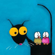 Stressie Cat and the whimsical birds. Lucia Stewart