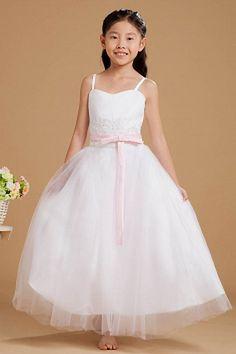 Ball Gown Spaghetti Strap White Flower Girl Dress sfp1128 - http://www.shopforparty.com/ball-gown-spaghetti-strap-white-flower-girl-dress-sfp1128.html - COLOR: White; SILHOUETTE: Ball Gown; NECKLINE: Spaghetti Strap; EMBELLISHMENTS: Applique , Beading , B