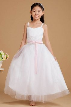 White Ball Gown One-shoulder Flower Girl Dress ted1128 - SILHOUETTE: Ball Gown; FABRIC: Tulle; EMBELLISHMENTS: Applique , Beading , Bowknot , Ruched , Sash , Sequin; LENGTH: Floor Length - Price: 70.3000 - Link: http://www.theeveningdresses.com/white-ball-gown-one-shoulder-flower-girl-dress-ted1128.html