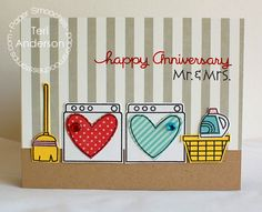 I absolutely LOVE this card by Teri @ Paper Smooches!  How cute it is with the anniversary sentiment and it would be great for a new home card too!  LOVE