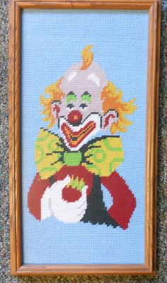 Vintage needlepoint, clown with big bow