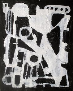 Abstract painting modern black and white minimalist by ElstonART