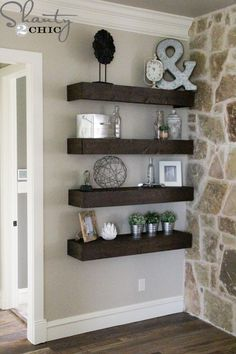 Excellent How to build simple floating shelves. – for living room wall between fireplace & master The post How to build simple floating shelves. – for living room wall between fireplace &… appeared first on Derez Decor . Rustic House, Sweet Home, Room Decor, Decor, Floating Shelves Diy, Diy Home Decor, Interior, Home Diy, Home Decor