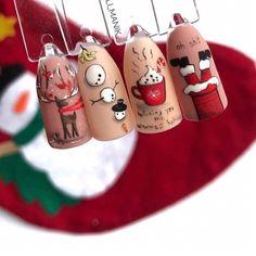 Nail Art Noel, Xmas Nail Art, Christmas Gel Nails, Holiday Nails, Dream Nails, Love Nails, Fun Nails, Pretty Nails, Christmas Nail Art Designs