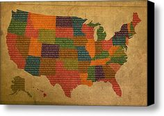Declaration Of Independence Word Map Of The United States Of America Stretched Canvas Print / Canvas Art By Design Turnpike