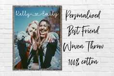 Personalized Best Friend Photo Cotton Woven Throw Blanket Custom Bff Picture Blanket Long Distance Best Friend Gift Bestfriend Name Blanket