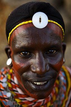 A samburu warrior with facial paintings in Ngurunit, Kenya ...
