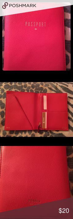 Fossil Leather Passport Case Beautiful coral orangey red pebbled leather fossil passport case with gold lettering. The inside features orange saffiano leather pockets for your passport, and rfid card slots to protect your id and credit cards and a zippered coin compartment with an additional slip pocket behind it. Brand new never used in perfect condition. Bought it at Macy's Fossil Accessories