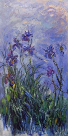 Lilac Irises - Claude Monet hand-painted oil painting reproduction,Landscape with Purple Flowers,bedroom decor fine art,living room wall art