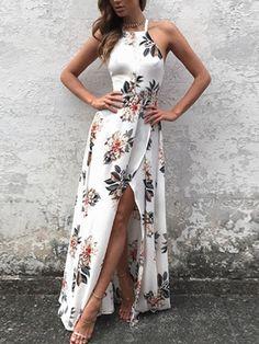 White Side Split Back Lace-up Random Floral Print Sleeveless Dress