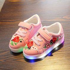 kukka painatus PU nahkainen led-kengät hehkuva sneakers lenkkarit kevyesti  valaistu lenkkarit lasten kengät tytöt 74ce1ac798