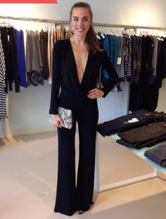 YFB black deep V jumpsuit--trying to channel our inner Michelle Pfeiffer