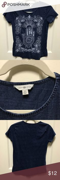 Lucky Brand Hamsa Hand Embroidered Top This top is like a denim material that is embroidered. It looks really nice and holds up well. This is a re-posh that I didn't end up wearing. But it is still in great condition. Make an offer! Lucky Brand Tops Tees - Short Sleeve