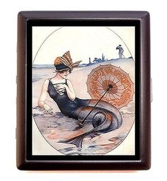 Art Deco Mermaid Cigarette Case Business Card Wallet on the Beach Nautical Pinup