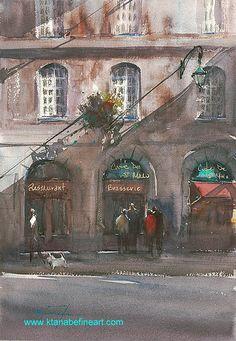"Malo, France I"" watercolor by Keiko Tanabe Watercolour Paintings, Watercolor Artists, Watercolours, Landscape Paintings, Landscapes, Japanese Watercolor, Watercolor Architecture, Japanese Artists, Art Studies"
