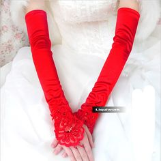 Red Satin Above Elbow Fingerless Pageant Evening Wedding Formal Gloves SKU-11201032