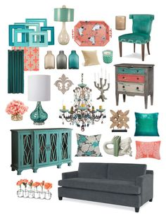 """""""Simply Contemporary in Gray, Teal & Coral"""" by crystalliora ❤ liked on Polyvore featuring interior, interiors, interior design, home, home decor, interior decorating, Kevin O'Brien, Schonbek, Regina-Andrew Design and Dot & Bo"""