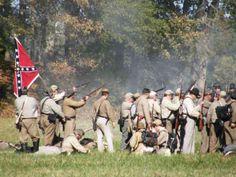 Civil War reenactment at Fort Branch near Williamston, NC. Held first weekend in November.  http://www.snapshotsofeasternnc.com/wp-content/uploads/2010/10/guns-flags.jpg