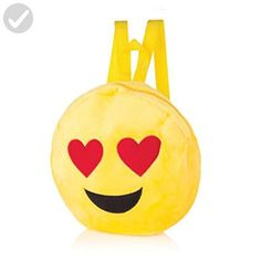 FunkyRico Emoji Plush Backpack Shoulder Bag with Double Straps, Heart Eyes, Zipper - Fun stuff and gift ideas (*Amazon Partner-Link)