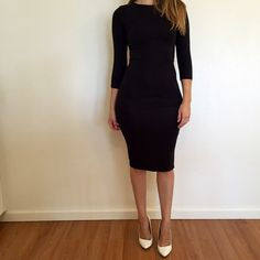 3/4 Sleeves Scoop Neck Midi Dress 3/4 Sleeves Black Scoop Neck Midi Dress. Brand new. Never worn. No flaws. Available in S-M-L. Runs true to size. Model is wearing a small for reference. 87% polyester, 13% spandex. Bundle for 15% off all 3+ item bundles. No Paypal. No trades. No offers will be considered unless you use the make me an offer feature.     Please follow  Instagram: BossyJoc3y Dresses Midi