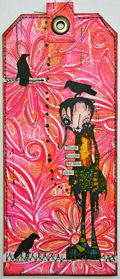 The Kathryn Wheel: Tag journaling... dutch styleeee! -- I thought it made a great girly background for the not-so-girly Mink by Daniel Torrente for Stampotique! I added my gelli print background to a large tag and mounted the tag onto strong card so that I could add it to my junk journal once finished.