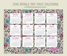 Free Printable: 2016 One Page Calendar by creative mamma