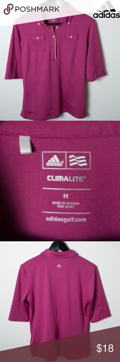 Pink/Purple Adidas Golf Women Climalite Solid Polo A cross between a deep pink and purple Adidas Golf shirt. Women solid polo shirt with two front button pockets on chest. Size medium. Great preloved condition. Looser fit. White pipping trim. adidas Tops Tees - Short Sleeve