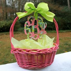 Lilly Monogrammed Ornament  - Perfect for an Easter Basket    http://www.thenavyknot.com/chevron-monogrammed-keychain/