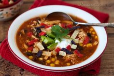 This quick and easy pressure cooker chicken enchilada soup is a pressure cooker version of the popular Tex-Mex slow cooker soup.