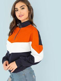O-Ring Zip Front Cut and Sew Sweatshirt -ROMWE Bridal Dresses 35c26fc119da