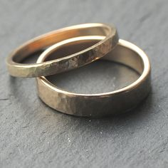Hammered Wedding Band Set: 9ct Yellow Gold Wedding Ring Set, Two Wedding Rings, 2mm x 1.3mm Womens Ring, 4mm x 1.3mm Mens, Custom Size