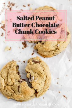 The best, salted cookie you will ever eat. These Salted Peanut Butter Chocolate Chunk Cookies are like heaven in your mouth. Made with creamy peanut butter, loaded with chocolate chunks and sprinkled with flakey sea salt.