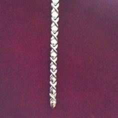 """NEW SILVER 925 Italy X & triangle bracelet. NEW SILVER 925 ITALY X & TRIANGLE bracelet. Measures 7"""" long, has lobster claw clasp. Jewelry Bracelets"""