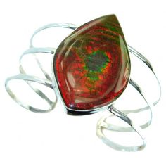 Jumbo Beautiful New Design Red Ammolite .925 Sterling Silver Bracelet / Cuff