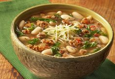 Looking for a delicious soup recipe? Then look no further…sausage, onion, white wine, beans and kale are combined with a savory Tuscan flavor infused broth and simmered to perfection. Plus, 45 minutes is all it takes to have this hearty soup ready to serve!
