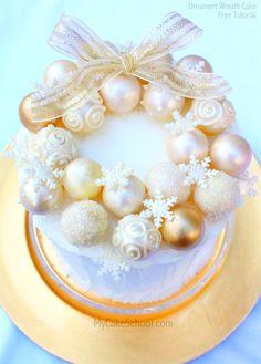 Elegant Ornament Wreath Cake- FREE Tutorial by MyCakeSchool.com!