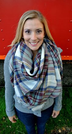 Plaid Blanket Scarf - Navy - New Arrival
