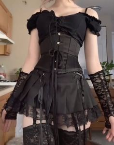 Gothic Outfits, Edgy Outfits, Grunge Outfits, Pretty Outfits, Cute Outfits, Fashion Outfits, Aesthetic Grunge Outfit, Aesthetic Clothes, Alternative Outfits
