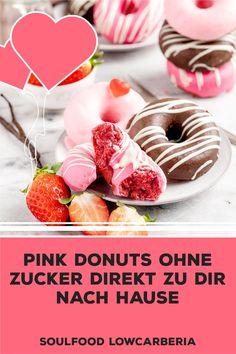 3er Donut Box ohne Zucker ohne Mehl, aber so lecker!! Ab sofort gibt es diese Box für dich Zuhause. Heute bestellt, morgen verschickt <3 #lowcarbdonuts #ketodonuts #donutsohnezucker #valentinesdonuts Low Carb Restaurants, Brownies, Low Carb Backen, Ab Sofort, Low Carb Desserts, Coleslaw, Donuts, Cereal, Breakfast