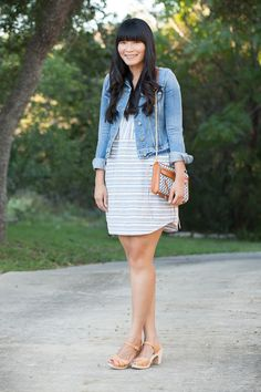 2013. good jeans. vermont jacket by paige. beach stripe dress by madewell. swedish hasbeens super high clogs. rebecca minkoff woven bag.reme...