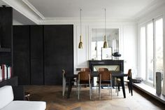 Matt Black and Parquetry | Mature Open Plan Living Dining Room