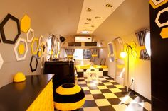 Bee Themed Living Room, Old Mac Daddy, Luxury Trailer Park in South Africa : Fresh Palace Living Room Remodel, Living Room Decor, Living Rooms, Daddy's Home, Glass Curtain, Yellow Interior, Bar Interior, Black And White Tiles, Black White