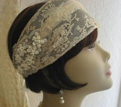 1920s Style Antique Lace Wedding Headband  by lacesparklevintage on Etsy, $65.00
