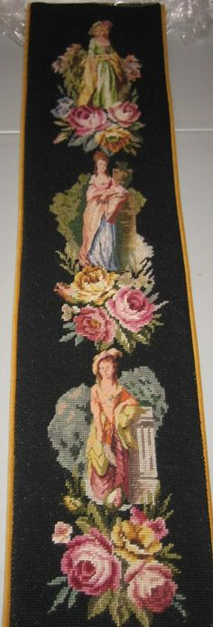 Victorian Needlepoint and Petit Point Bell Pull I Made