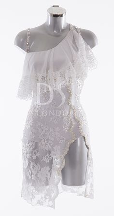 White Latin Dress as worn by Janette Manrara on Strictly Come Dancing 2014. Designed by Vicky Gill and produced by DSI London